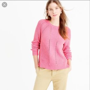 J.Crew Pink Wool-blend Pointelle Cable Sweater XL